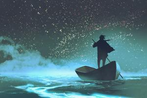 Man Rowing a Boat in the Sea under Beautiful Sky with Stars,Illustration Painting by Tithi Luadthong