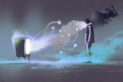 Man Standing in Front of Unusual Television on Dark Background,Illustration Painting