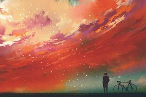 Man with Bicycle Standing against Red Clouds in the Sky,Illustration,Digital Painting by Tithi Luadthong