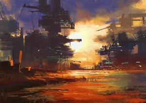 Mega Structure in Sci-Fi City at Sunset,Digital Painting,Illustration by Tithi Luadthong