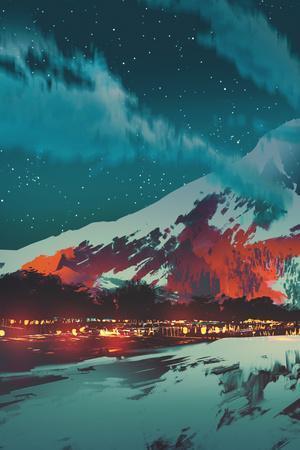 Night Scene of Village in Mountain,Landscape Illustration Painting