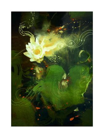 Painting of Beautiful White Lotus Blossom,Single Waterlily Flower Blooming on Pond