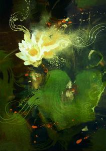 Painting of Beautiful White Lotus Blossom,Single Waterlily Flower Blooming on Pond by Tithi Luadthong