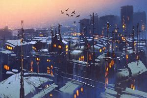 Painting of City Snowy Winter Scene,Rooftops Covered with Snow at Sunset by Tithi Luadthong