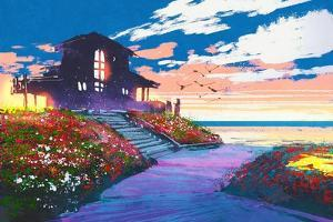 Painting of Landscape with a Beach House and Colorful Flowers at a Background by Tithi Luadthong