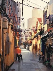 Painting of Narrow Alleyway in Old Town,Illustration by Tithi Luadthong