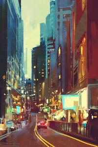 Painting of Street in Modern City with Colorful Light at Evening by Tithi Luadthong
