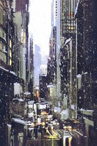 Painting of Winter City with Snow,Illustration by Tithi Luadthong