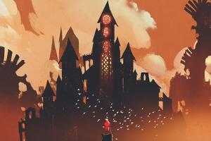 Red Knight Standing in Front of Fantasy Castle in the Background of Orange Clouds,Illustration Pain by Tithi Luadthong