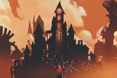 Red Knight Standing in Front of Fantasy Castle in the Background of Orange Clouds,Illustration Pain