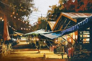 Street of Traditional Market at Evening,Oil Painting Style by Tithi Luadthong