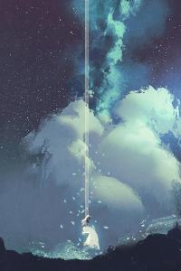 The Woman on a Swing under the Night Sky with Stars and Clouds,Illustration Painting by Tithi Luadthong
