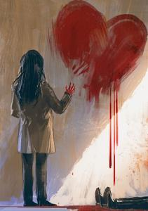 Woman Drawing Red Heart with Blood on the Wall,Digital Painting,Illustration by Tithi Luadthong
