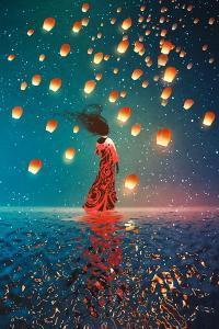 Woman in Dress Standing on Water against Lanterns Floating in a Night Sky,Illustration Painting by Tithi Luadthong