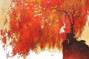 Woman on a Swing under Autumn Tree,Illustration Painting by Tithi Luadthong