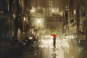 Woman with Red Umbrella Crossing the Street,Rainy Night,Illustration by Tithi Luadthong