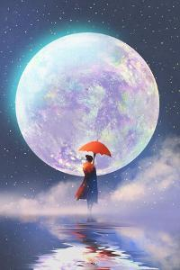 Woman with Red Umbrella Standing on Water against Full Moon Background,Illustration Painting by Tithi Luadthong