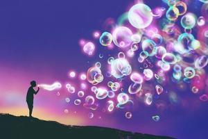 Young Man Blowing Glowing Soap Bubbles against Evening Sky,Illustration Painting by Tithi Luadthong