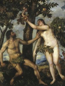 Adam and Eve by Titian (Tiziano Vecelli)