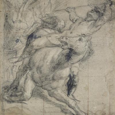 Horse and Rider Falling, C. 1537 by Titian (Tiziano Vecelli)