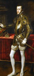 King Philip II of Spain (1527-1598), the King in Armor; Morion and Gloves on a Table by Titian (Tiziano Vecelli)