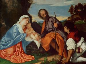 The Holy Family and a Shepherd, circa 1510 by Titian (Tiziano Vecelli)