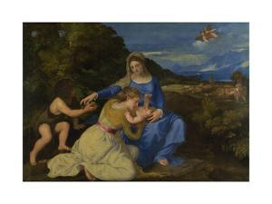 The Virgin and Child with the Young Saint John the Baptist (The Aldobrandini Madonna), Ca 1532 by Titian (Tiziano Vecelli)
