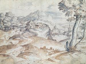 Wooded Landscape with Village and Church by Titian (Tiziano Vecelli)
