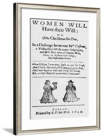 Title Page for 'Women Will Have their Will: or Give Christmas His Due'--Framed Giclee Print