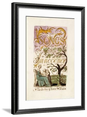 Title Page, from 'Songs of Innocence', 1789-William Blake-Framed Giclee Print