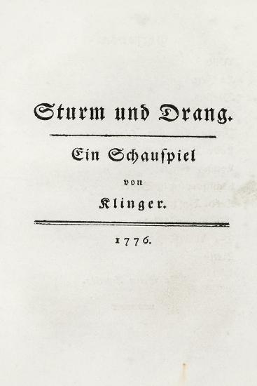 Title Page from Sturm Und Drang, 1776-Friedrich Maximilian Klinger-Giclee Print