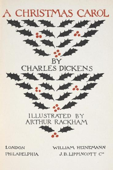 Title Page Illustrated With Holly Leaves and Berries-Arthur Rackham-Giclee Print