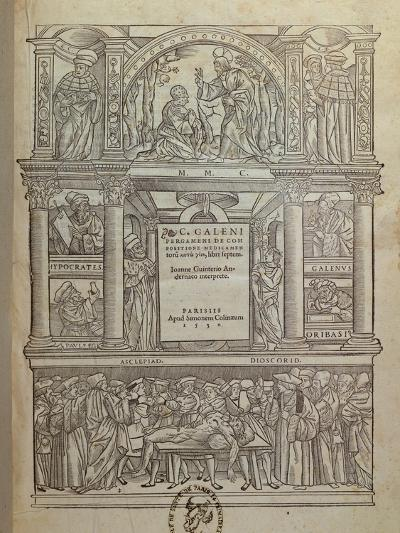 Title Page of a Book by Galen, Published in Paris, 1530--Giclee Print