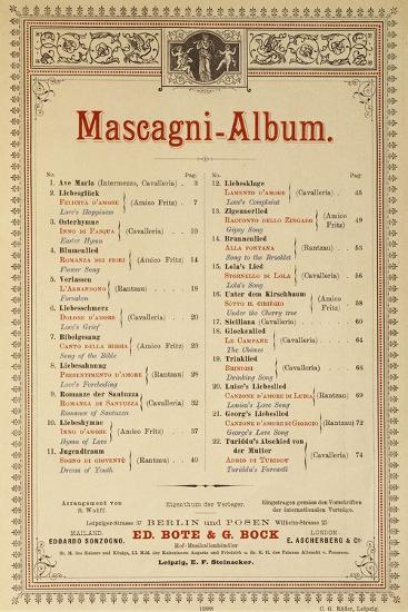 Title Page of Album of Compositions-Pietro Mascagni-Giclee Print
