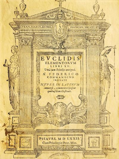 Title Page of Elementa- Euclid-Giclee Print