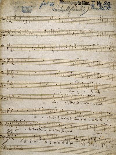 Title Page of Handwritten Score for Great Organ Mass by Franz Joseph Haydn--Giclee Print