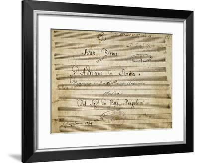 Title Page of Handwritten Score for the First Act of Adriano in Siria--Framed Giclee Print