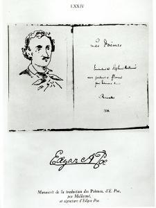 """Title Page of """"Les Poemes"""" by Edgar Allan Poe with a Portrait of the Author, 1888"""