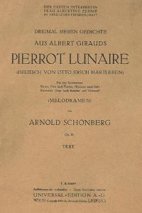 Title Page of Libretto for Pierrot Lunaire, 1912, Composition by Arnold Schonberg