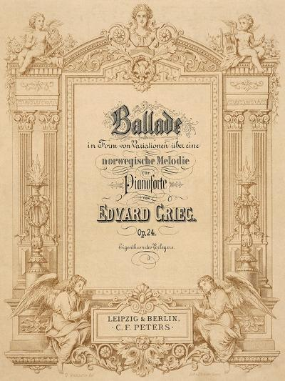 Title Page of Score for Ballads-Edvard Grieg-Giclee Print