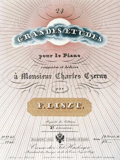 Title Page of Score for Great Studies for Piano-Franz Liszt-Giclee Print