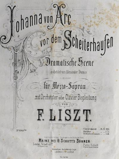 Title Page of Score for Joan of Arc at Stake-Franz Liszt-Giclee Print