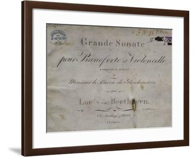 Title Page of Score for Piano Sonata, Opus 69--Framed Giclee Print