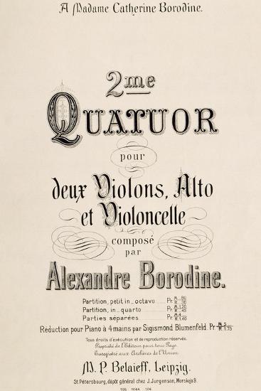 Title Page of Score for Second Quartet-Aleksandr Borodin-Giclee Print
