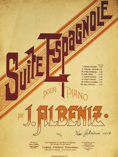 Title Page of Score for Suite Espanola, by Isaac Albeniz--Giclee Print