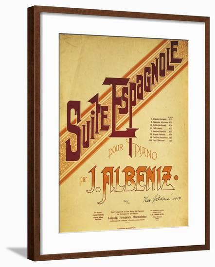 Title Page of Score for Suite Espanola, by Isaac Albeniz--Framed Giclee Print