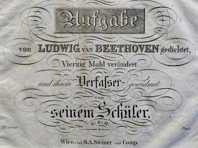 Title Page of Score for Variations on Theme Written for Archduke Rudolph-Ludwig Van Beethoven-Giclee Print
