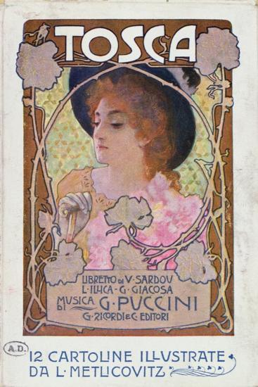 Title Page of Score Sheet for the Opera Tosca by Puccini, c.1910-Italian School-Giclee Print