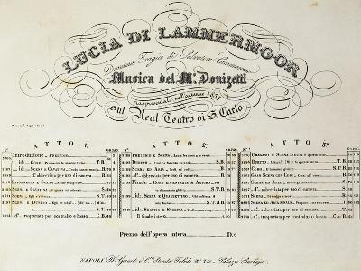 Title Page of Sheet Music for Lucia Lammermoor, Opera by Gaetano Donizetti--Giclee Print