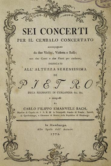 Title Page of Six Concertos for Harpsichord with Dedication to His Highness Duke Peter-Carl Philipp Emanuel Bach-Giclee Print